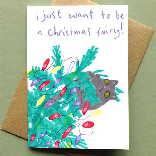 Christmas Fairy Cat Card