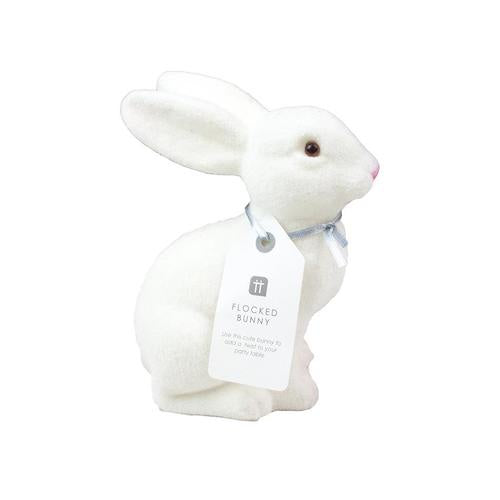 White Flocked Bunny Decoration
