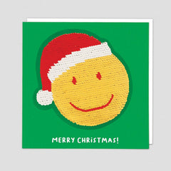 Merry Christmas! Smiley Face Reversible Sequin Patch Card