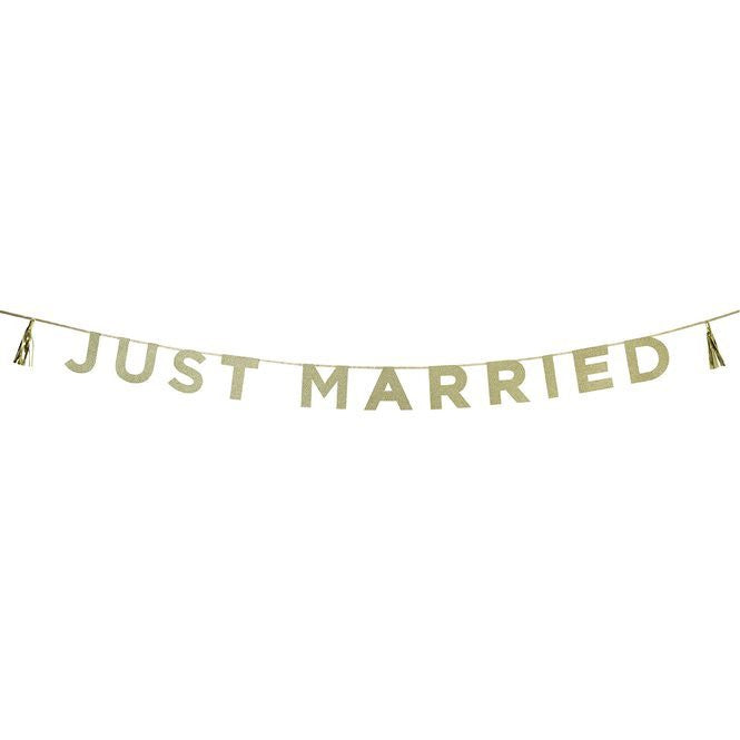 Just Married Gold Banner