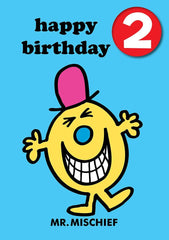 Mr Men Age 2 Badge Birthday Card