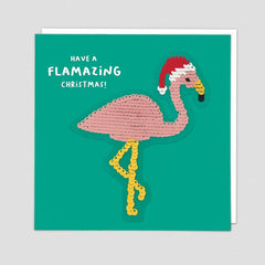 Have a Flamazing Christmas! Reversible Sequin Patch Card