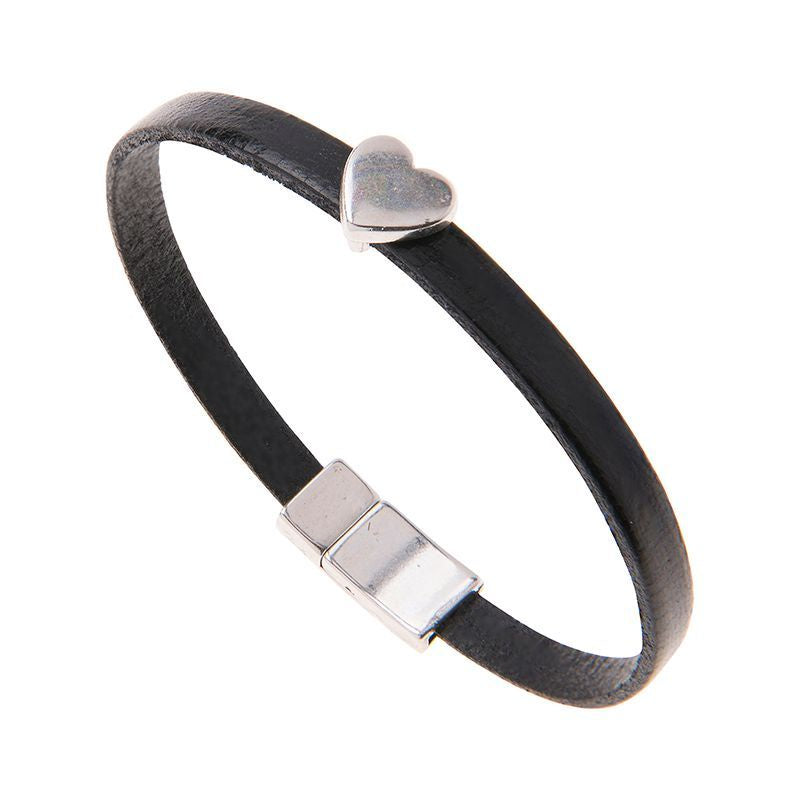 Carrie Elspeth Black Leather Charm Bracelet with Heart