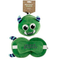 Relaxeazzz Green Monster Travel Pillow And Eye Mask