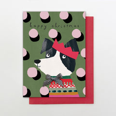 Happy Christmas Dog Polka Dot Card