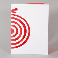 Red Cut Out Bauble Christmas Card