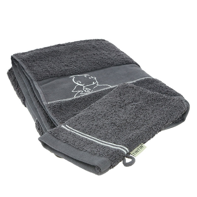 Grey Tintin Small Towel and Facecloth
