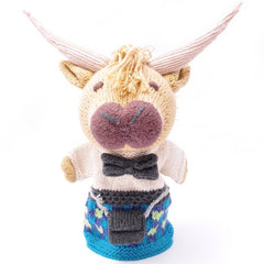 Scottish Highland Cow in Blue Kilt Hand Puppet