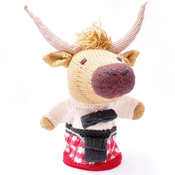 Scottish Highland Cow in Red Kilt Hand Puppet