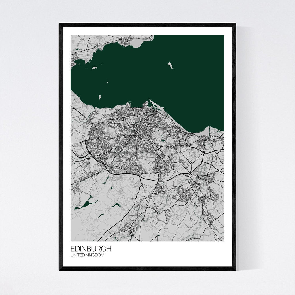 Edinburgh Grey, Green and Black Map Print in Tube 50x70cm