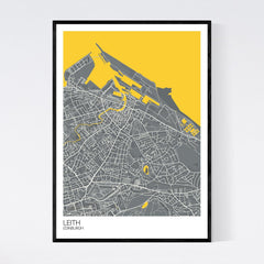 Leith Dark Grey, Yellow And White Map Print In Tube 50x70cm