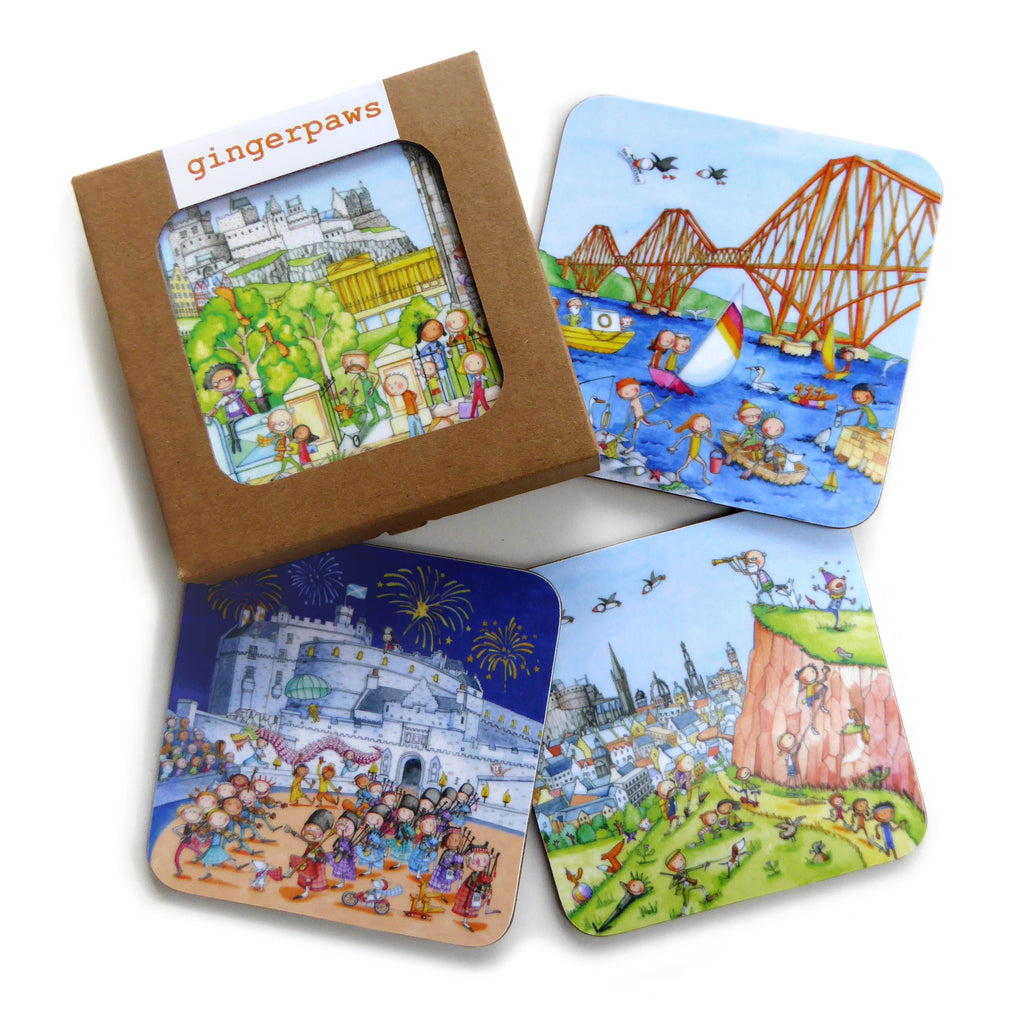 Gingerpaws Pack of Four Edinburgh Coasters