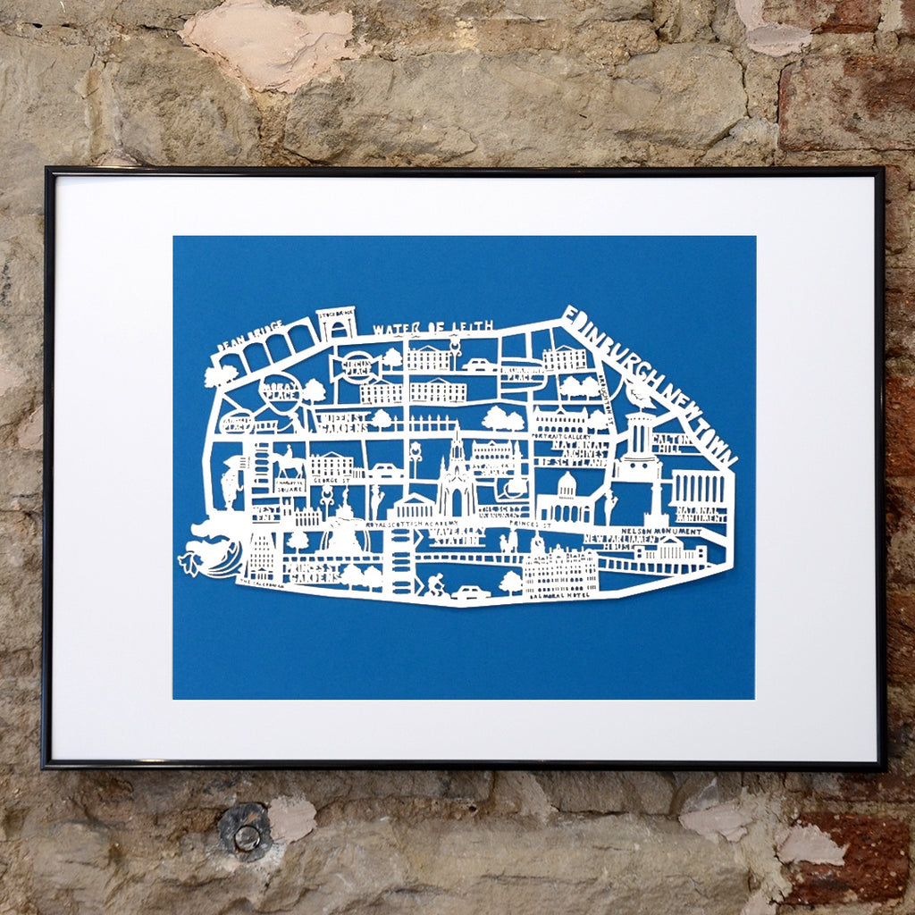 Lasercut A2 Edinburgh New Town Map - White on Blue
