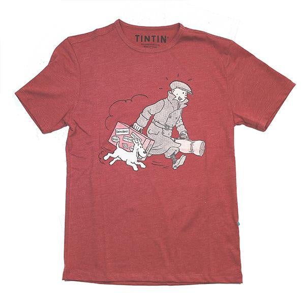 Tintin and Snowy with Luggage Kids T-Shirt Red