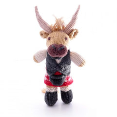 Knitted Highland Cow with Red Kilt