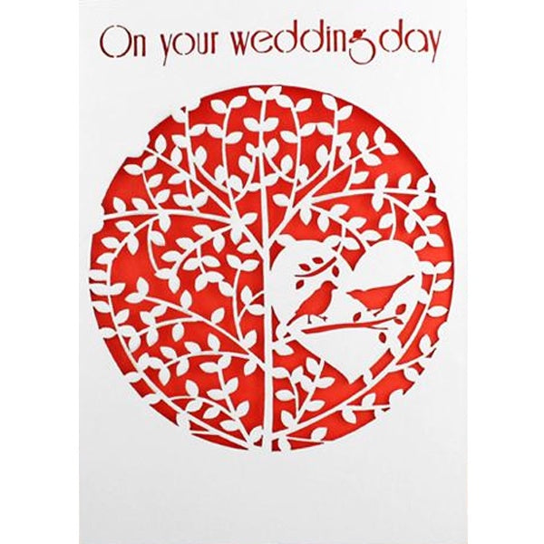On Your Wedding Day Lasercut Birds in a Heart Tree Card