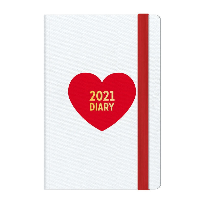 Heart 2021 Medium Weekly Diary With Notebook