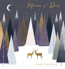 Deer in The Trees Mum and Dad Foiled Christmas Card