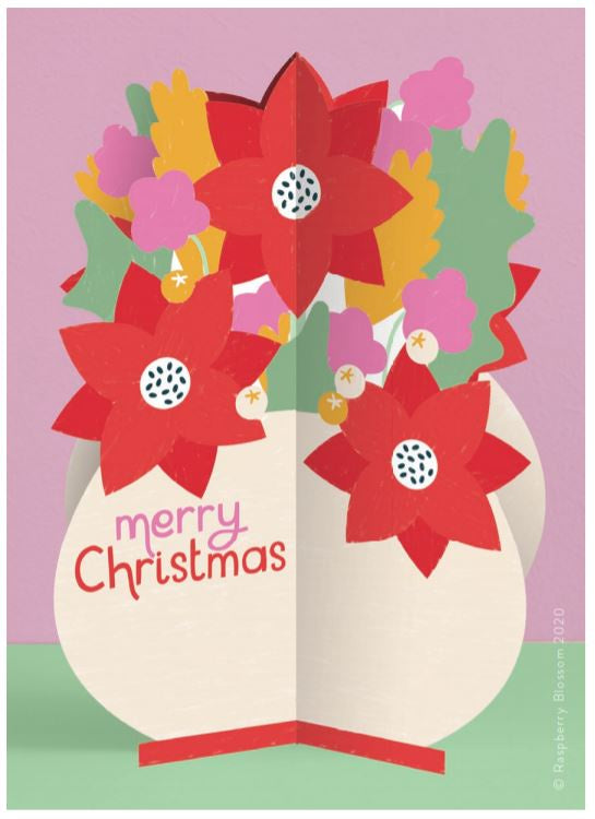 Poinsettia Fold-out Christmas Card