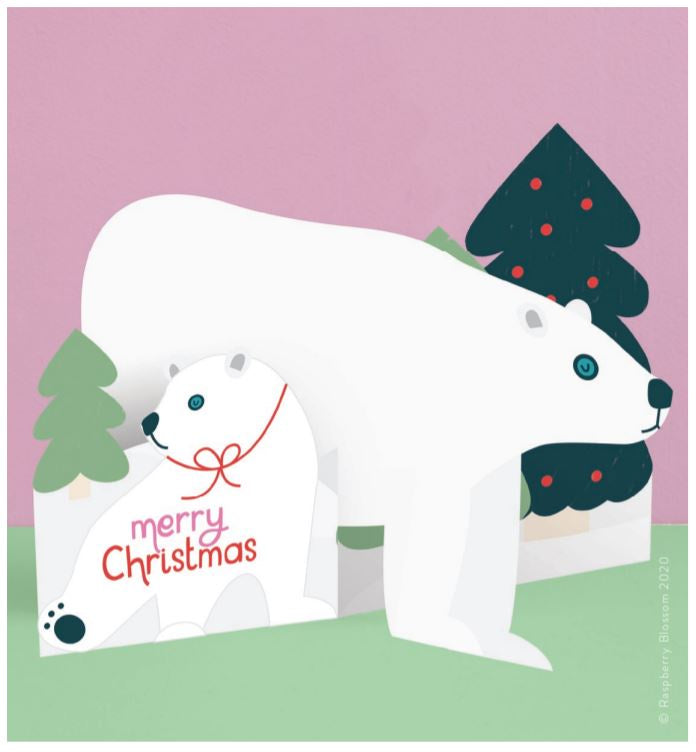 Polar Bear Fold-out Christmas Card