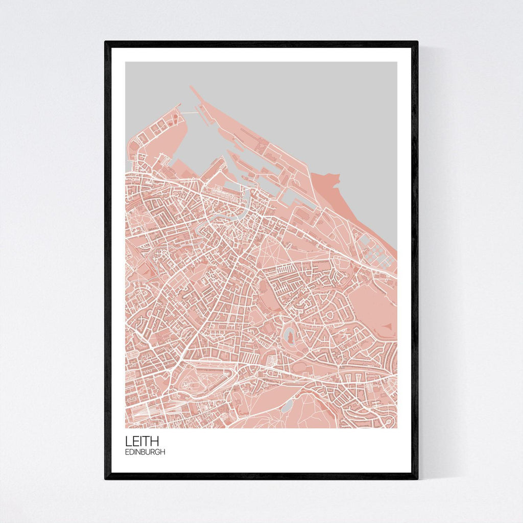 Leith Light Red, Grey And White Map Print In Tube 50x70cm