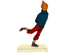 Tintin metal relief  ice skating