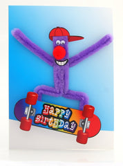 Skateboard Puffy Birthday Card
