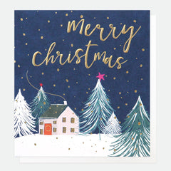 House in Snow at Night Merry Christmas Pack of 5 Cards