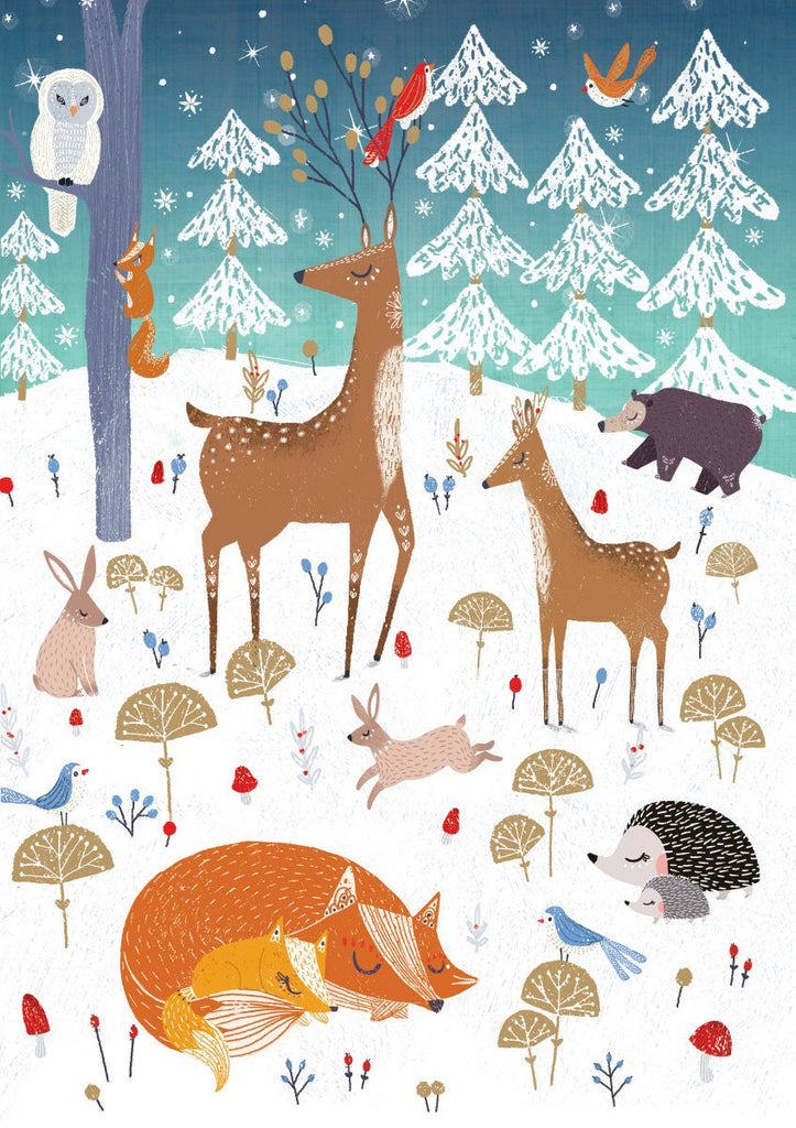 Frosty Forest Friends Christmas Card