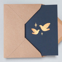 Two Doves Navy & Rose Gold Christmas Card