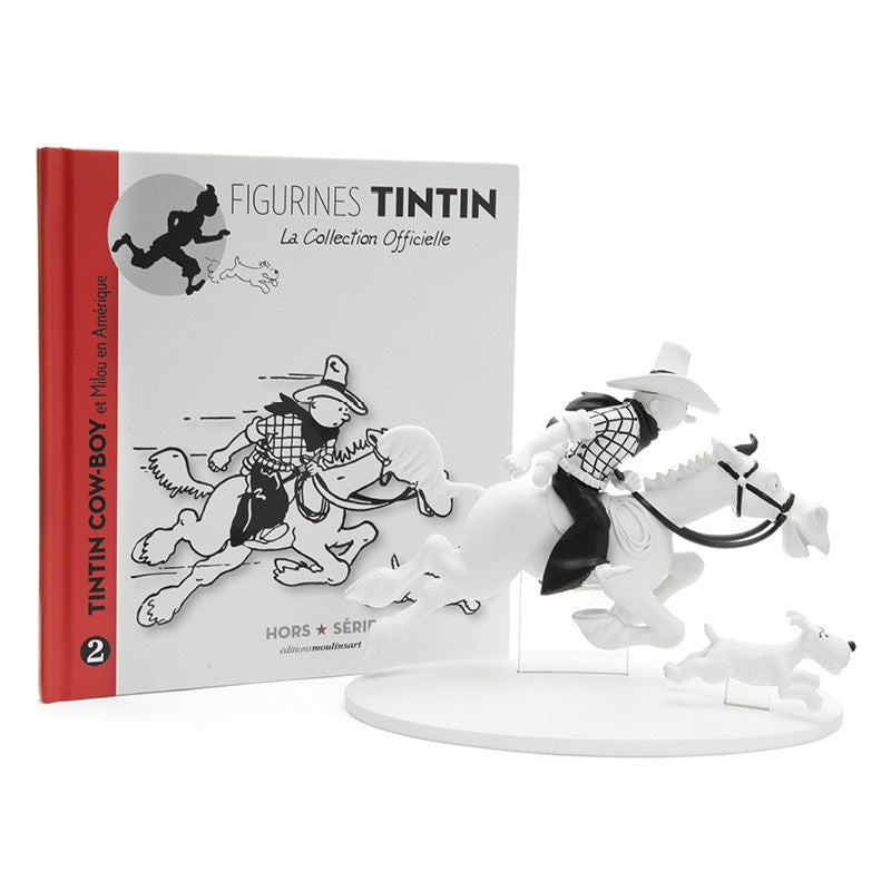 Monochrome Polyresin Tintin Cowboy and Snowy