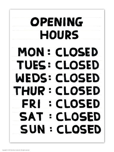Opening Hours Postcard