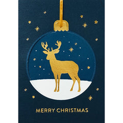 Golden Deer Bauble Christmas Card