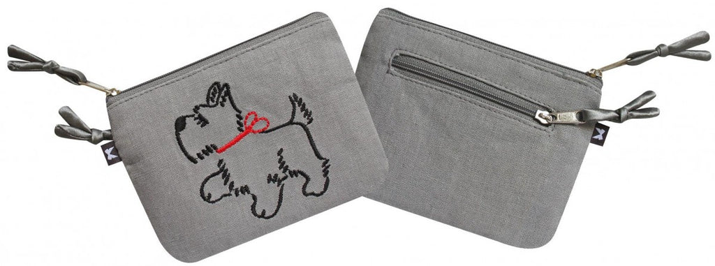 Grey Scottie Dog Embroidered Emily Purse