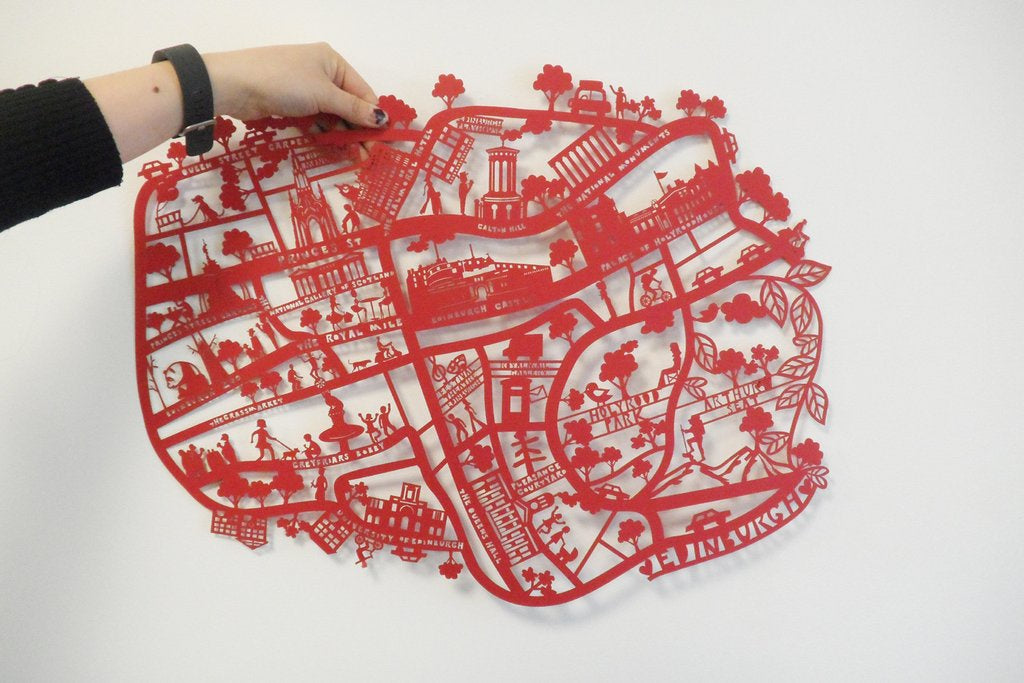 Lasercut A4 Edinburgh Map in Tube - Red