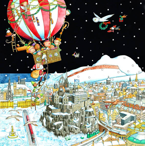 A View of Edinburgh from the Air Pack of Christmas Cards