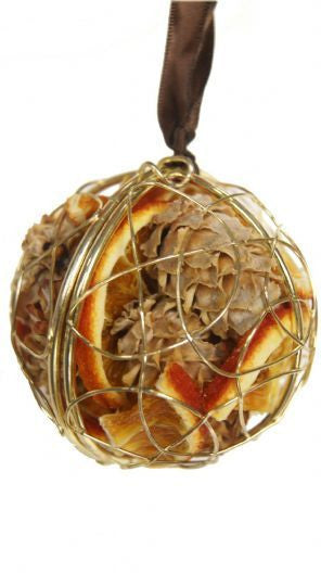 Dried Fruit Hanging Sphere Decoration - Silver