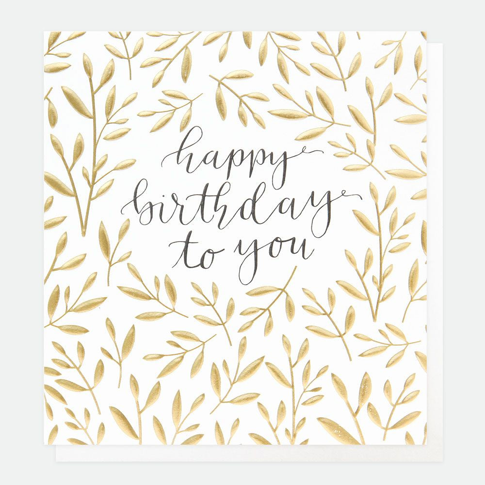 Happy Birthday to You Gold Leaves Card