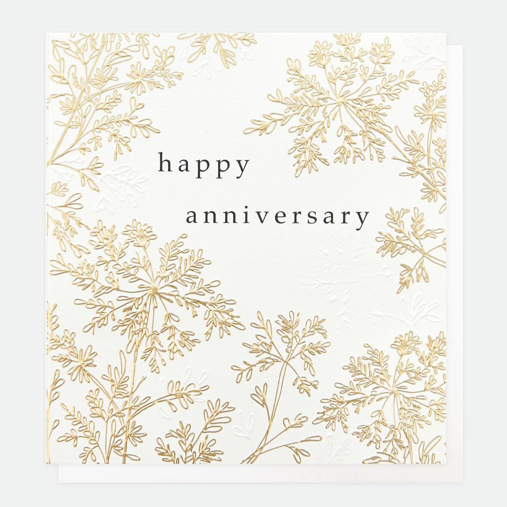 Gold Leaf Happy Anniversary Card
