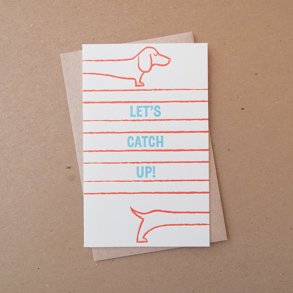 Let's Catch Up Dog Card