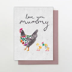 Hen & Chickens Love you Mummy Mother's Day Card
