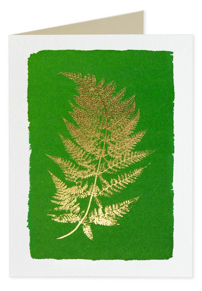 Gold Foiled Green Fern Pack of 5 Cards