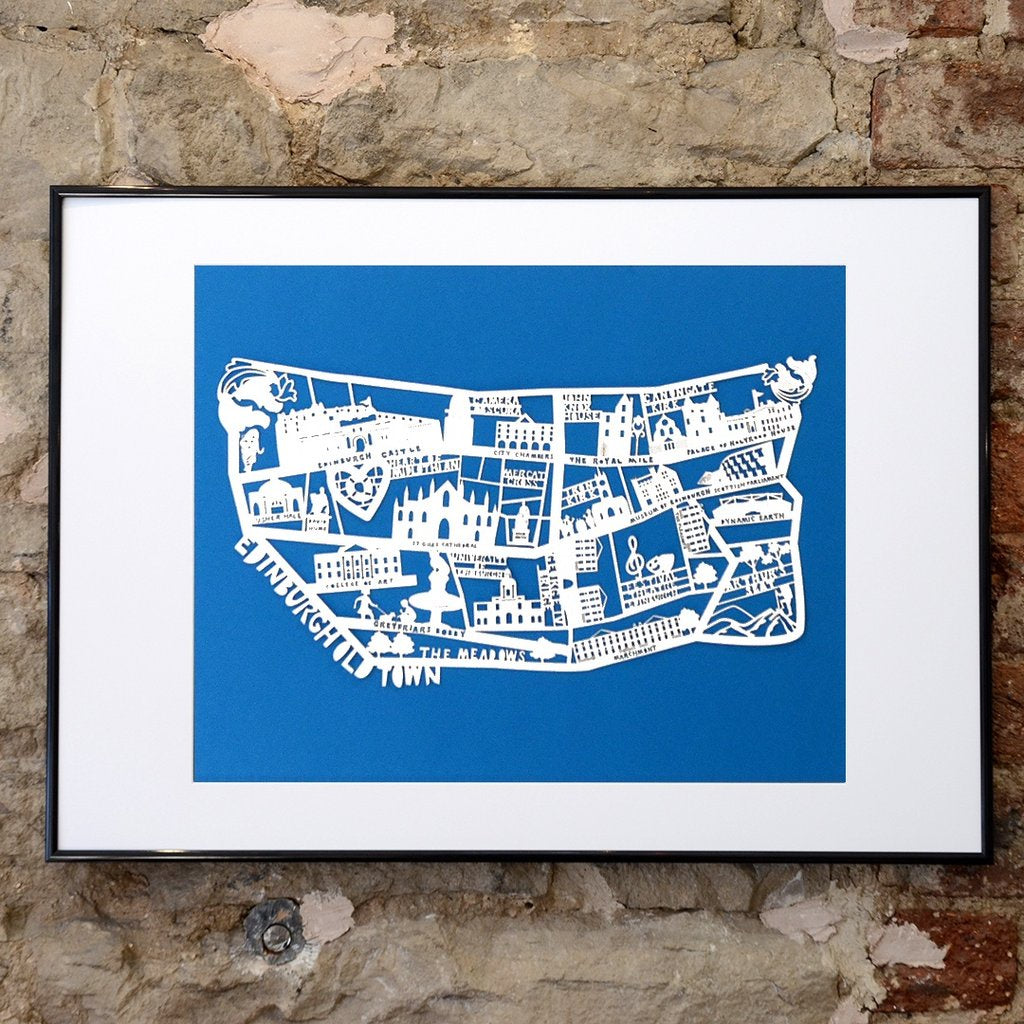 Lasercut A4 Edinburgh Old Town Map - White on Blue