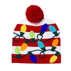 Led Flashing Light Up Pom Pom Knitted Hat