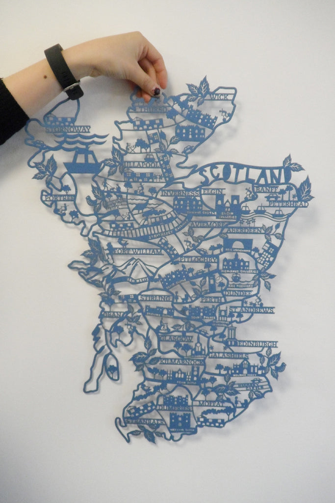 Scotland Lasercut Map in Tube - Navy