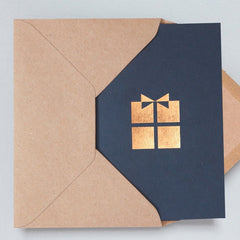 Present Navy & Rose Gold Christmas Card