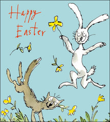 Quentin Blake Leaping in the Flowers Easter Card