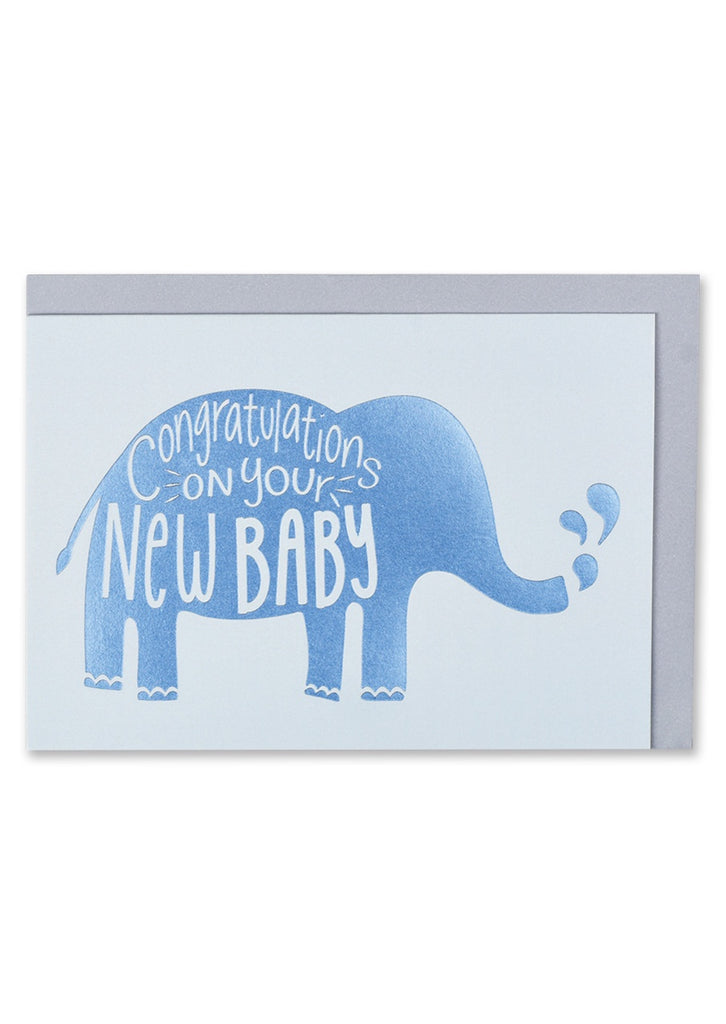 Blue New Baby Elephant Card