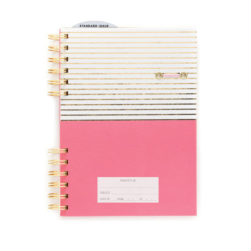 Pink Notebook with Gold Foil Stripe