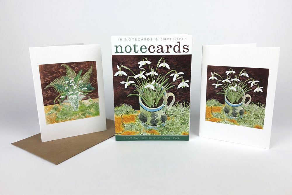 Snowdrops and Ferns & Snowdrops and Lichen  Lithographs By Angie Lewin Pack of 10 Notecards